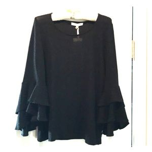 Black bell-sleeved top